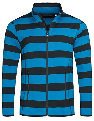 Active Striped Fleece Jacket for men_Brilliant-Blue