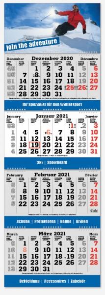 FOLD-4 | flatbarer 4-Monats-Kalender | deutsch-mehrsprachig
