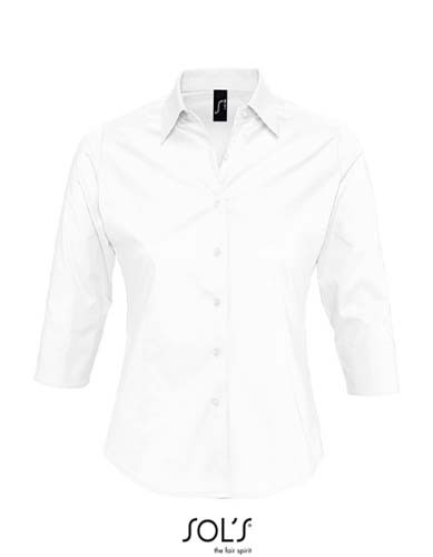 Ladies` Stretch-3/4-Sleeve Blouse Effect_White