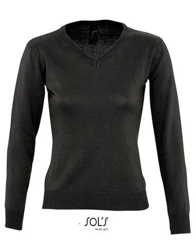 Women`s V Neck Sweater Galaxy_Black