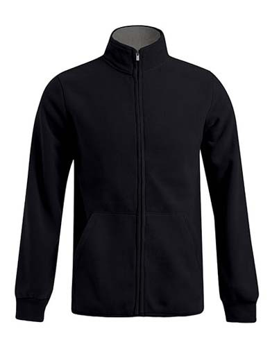 Men`s Double Fleece Jacket_Black_Light-Grey-Solid