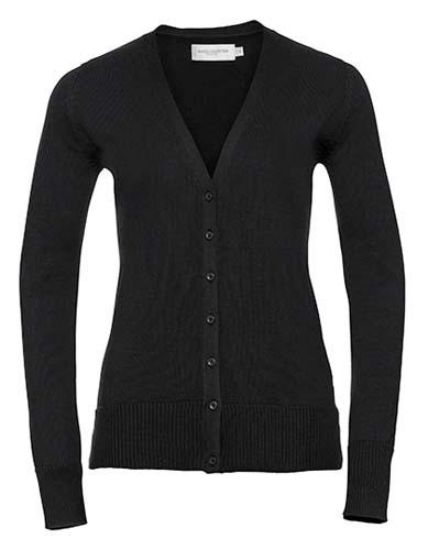 Ladies` V-Neck Knitted Cardigan_Black