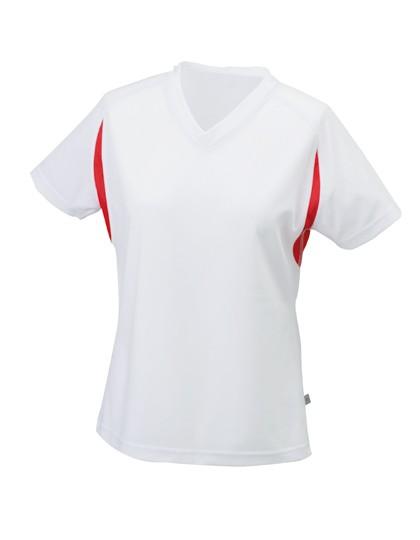 JN316 Ladies` Running-T_White-Red