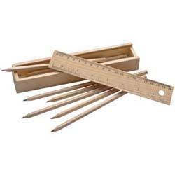 Mac-53944 Holzbox mit Buntstiften und Lineal