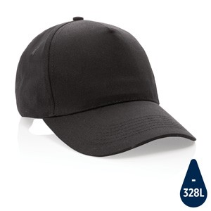 5 Panel Kappe aus 190gr schwarz