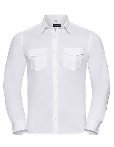 Men`s Roll Long Sleeve Fitted Twill Shirt_White