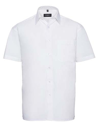 Men`s Short Sleeve Classic Pure Cotton Poplin Shirt_White