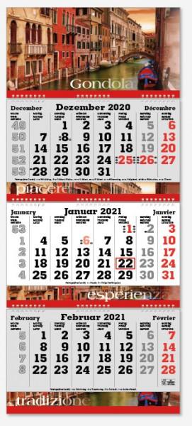 FOLD-3 | flatbarer 3-Monats-Kalender | deutsch-mehrsprachig