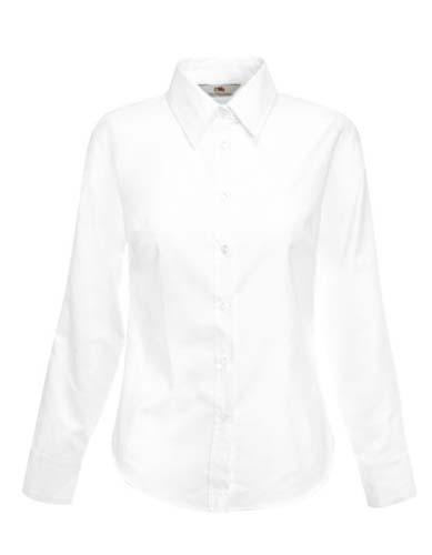 Ladies Long Sleeve Oxford Shirt_White