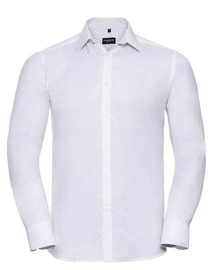 Men`s Long Sleeve Tailored Herringbone Shirt_White