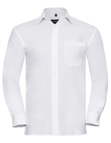 Men`s Long Sleeve Classic Pure Cotton Poplin Shirt_White