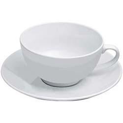 Teekanne mit einer Tasse und Untersetzer