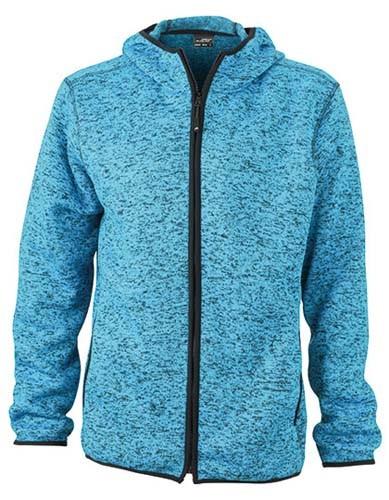 Men`s Knitted Fleece Hoody_Blue-Melange_Black