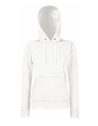 F409 Ladies Classic Hooded Sweat_White
