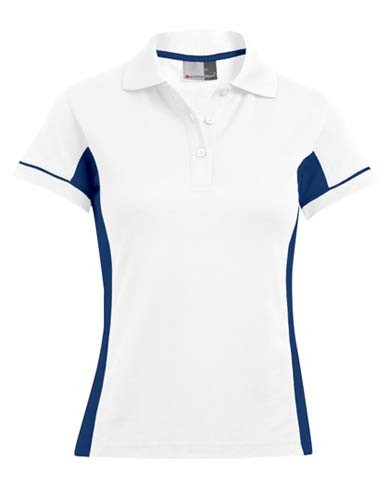 E4525 Women`s Function Contrast Polo_White_Indigo