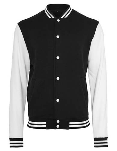BY015 Sweat College Jacket_Black_White