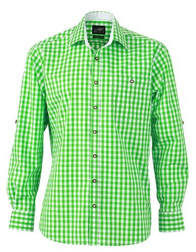 Men`s Traditional Shirt_Green_White