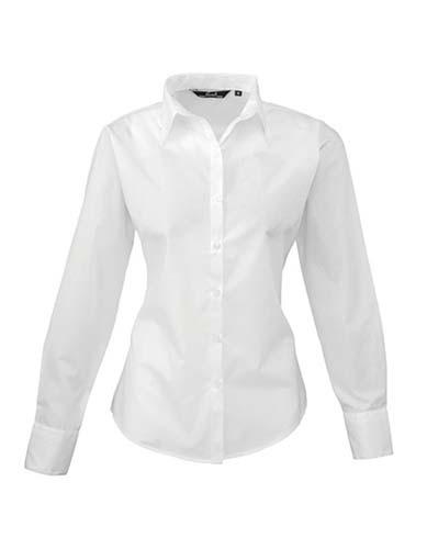 Ladies` Poplin Long Sleeve Blouse_White