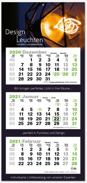 GREEN 3MAXI | flatbarer 3-Monats-Kalender | deutsch-mehrsprac