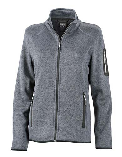 JN761 Ladies` Knitted Fleece Jacket_Dark-Grey-Melange_Silver
