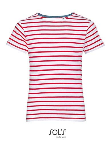 Kids` Round Neck Striped T-Shirt Miles_White_Red