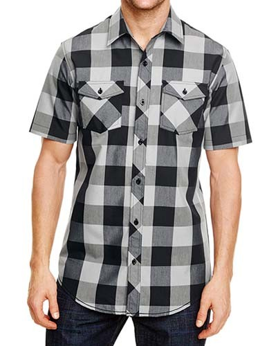 BU9203 Buffalo Plaid Woven Shir_Black-White-Checked