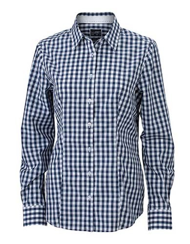 Ladies` Checked Blouse_Navy_White