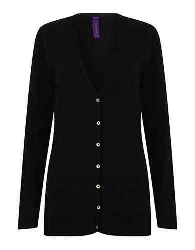 Ladies` Lightweight V-Neck Cardigan_Black