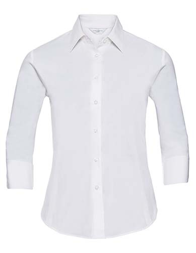 Ladies` 3/4 Sleeve Fitted Stretch Shirt_White