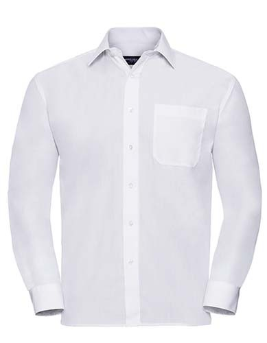 Men`s Long Sleeve Classic Polycotton Poplin Shirt_White