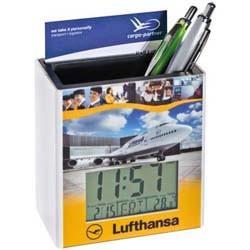 Stiftehalter mit digitaler Uhr und Temperaturanzeige