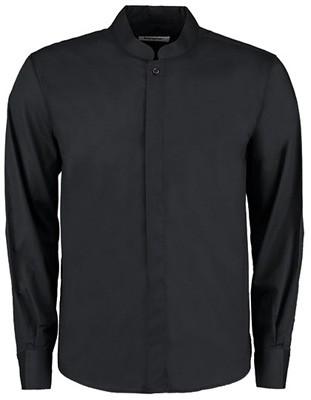 L-K123 Men`s Tailored Fit Bar Shirt Mandarin Collar Long Sleeve