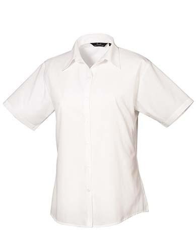 Ladies` Poplin Short Sleeve Blouse_White