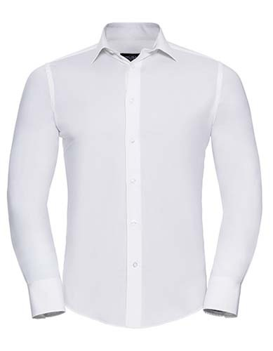 Men`s Long Sleeve Fitted Stretch Shirt_White