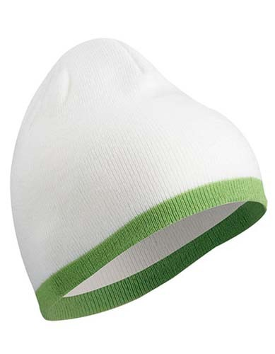 Beanie with Contrasting Border_White_Lime-Green