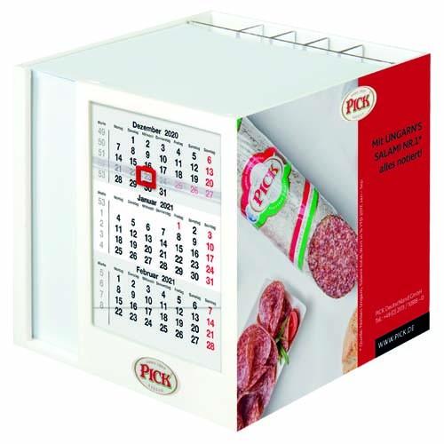 TD Zettelspeicher mit Dreimonatskalender 10,7 x 10,7 x 10,4 cm