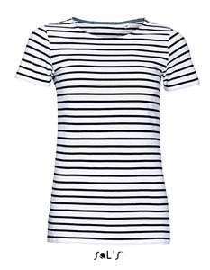 L-L01399 Women`s Round Neck Striped T-Shirt Miles