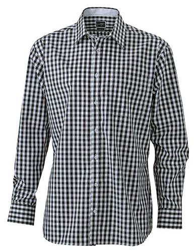 Men`s Checked Shirt_Black_White