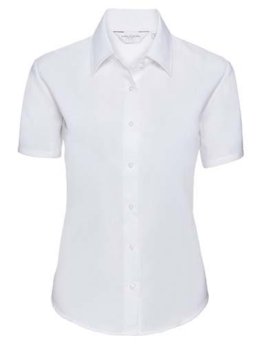 Ladies` Short Sleeve Classic Oxford Shirt_White