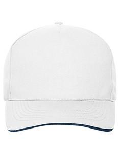 5 Panel Sandwich Cap Bio Cotton White_Navy