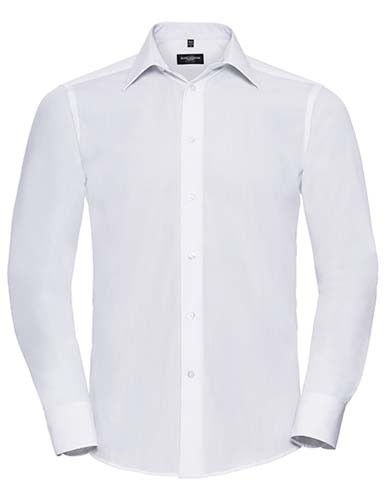 Men`s Long Sleeve Tailored Polycotton Poplin Shirt_White