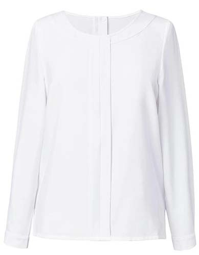 BR800 Women`s Riola Long Sleeve Blouse_White