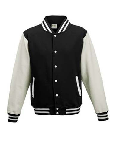 Kids` Varsity Jacket_Jet-Black_White