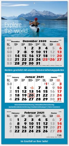 LARGE | flatbarer 3-Monats-Kalender | deutsch-mehrsprachig