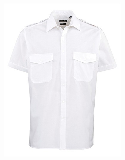PW212 Pilot Shirt Shortsleeve_Whitw