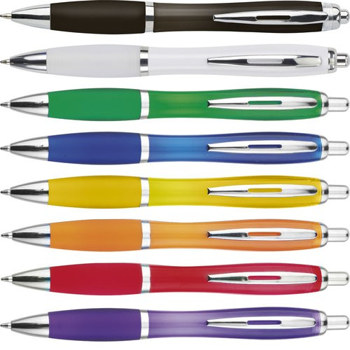 """3015 Transparenter Kugelschreiber """"Newport"""" mit silbernem Metallclip & Gummimanschette"""