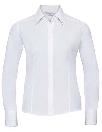 Ladies` Long Sleeve Fitted Polycotton Poplin Shirt_White