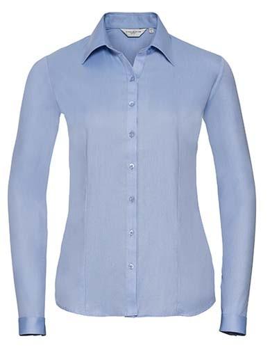 Ladies` Long Sleeve Tailored Herringbone Shirt_Light Blue
